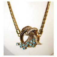 Vintage Circular Pendant Cobra Chain with Turquoise Blue and Clear Rhinestones – c.1970