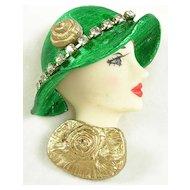 Vintage Porcelain Face Lady Pin Brooch