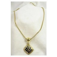 "Vintage Black Enamel and Gold Tone Pendant with 32"" Snake Chain"