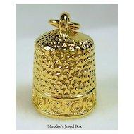 Gold Tone Thimble Charm Pendant