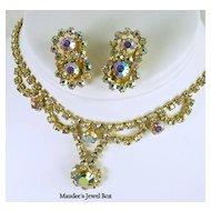 Vintage Pastel Aurora Borealis and Clear Rhinestone Demi Parure in Gold Tone – Beautiful!