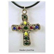 Vintage Enamel Cross Pendant in Silver Tone