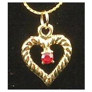 Ruby Rhinestone Heart Pendant Necklace