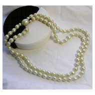 Signed Japan Double Strand Faux Pearl Knotted Necklace in Gold Tone c. 1980s