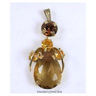 Vintage Faceted Topaz Rhinestone Angel Pendant in Gold  Tone