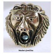 Hong Kong Vintage Lion's Head Silver Tone Adjustable Ring