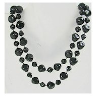 Vintage Simulated Onyx Beaded Nugget Necklace