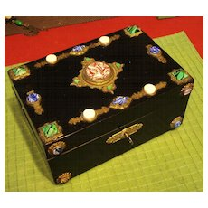 ORNATE Jeweled Antique Victorian Jewelry Box  w Key