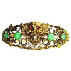 RARE LG Art Nouveau Beau Arts Gargoyle Jeweled Bracelet