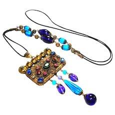 Exotic Jeweled Edwardian Czech Marcasite Necklace