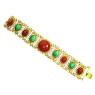 Edwardian Jeweled Czech Carnelian / Peking Glass Faux Pearl Bracelet