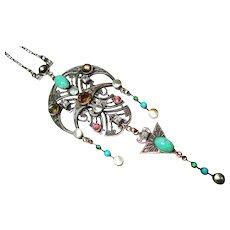 Antique Jeweled Jugendstil Lavalier Necklace