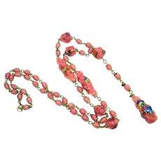 1920s Foiled Czech Art Glass Flapper Necklace Pink