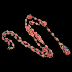 1920s Foiled Czech Art Glass Flapper Necklace Pink