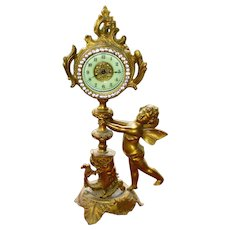 Working Whimsical Ornate Victorian Cherub and Dolphin Clock