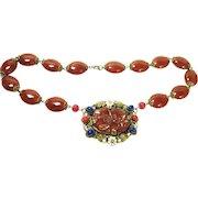 Fine Old Czech Enameled Jeweled Carnelian Art Glass Necklace