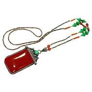 Elegant Old Czech Jeweled Carnelian Neiger Orientalist Necklace