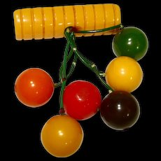 Art Deco Carved Bakelite Dangles Pin