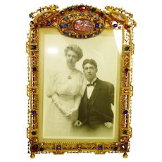 LG Superb Victorian Dragons Breath Jeweled Cherubs Picture Frame