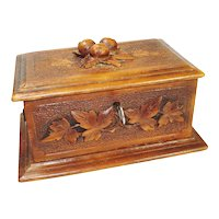Hand Carved Victorian Black Forest Jewelry Box w key