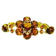 Sparkling Signed Czech Edwardian Era Gilt Flower Bracelet