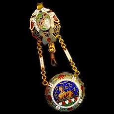Rare French Enamel Egyptian Revival Chatelaine Pocket Watch Holder Locket