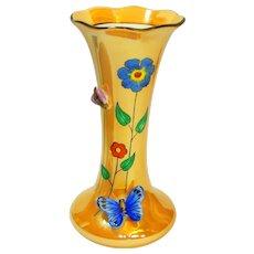 Art Deco Figural Butterfly and Bee Noritake Lusterware Vase