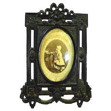 Antique Civil War Gutta Percha Frame w Curved Glass Ornate Roses