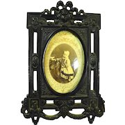 Antique Civil War Gutta Percha Mourning Cabinet Photo Frame