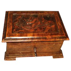 Victorian Black Forest Bear Hand Carved Trinket Box w Key