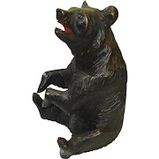 LARGE Victorian Black Forest Bear Hand Carved Humidor Jar