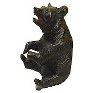 LARGE Victorian Black Forest Bear Hand Carved Humidor Jar