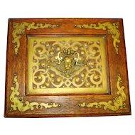 Victorian Cherub Antique Ornate Oak Jewel Box w KEY