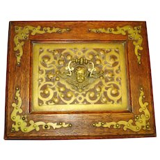 Victorian Cherub Antique Ornate Oak Jewel Box w KEY