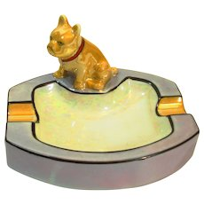 Art Deco Noritake Lusterware French Bulldog Figural Ashtray