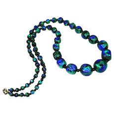 "26"" Gorgeous Foiled Old Czech Peacock Glass Bead Necklace"