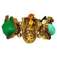 Huge Dramatic Jeweled Gods & Dragon Bracelet