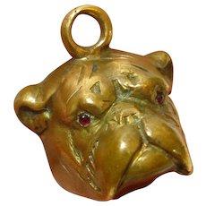 Jeweled Victorian Dog Bulldog Pocket Watch Fob Charm