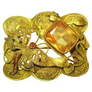 Art Nouveau Victorian Jeweled Butterfly Sash Pin