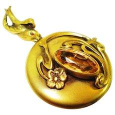 Rare Jeweled Bird Art Nouveau Locket