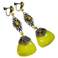 Ornate Extra Long Jeweled Czcech Neiger Earrings