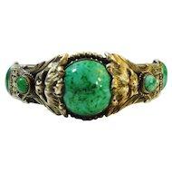 Lg Jeweled Czech Lions Neiger Bangle Bracelet