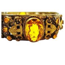 Ornate Neiger Czech jeweled & Filigree Bracelet