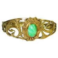 Ornate Art Nouveau Czech Glass Hinged Bracelet