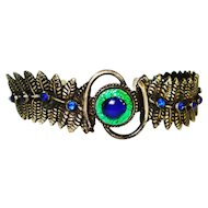 Bracelet Vintage Czech Peacock Eye Jeweled Marked Sterling