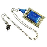 Huge Art Deco Czech Glass Pendant Necklace