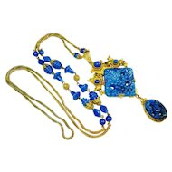 FINE CZech Neiger Jeweled Art Glass Long Necklace