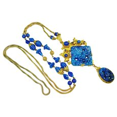 FINE CZech Neiger Jeweled Art Glass Long Necklace