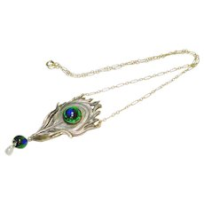 Art Nouveau Foiled Peacock Eye Glass Necklace