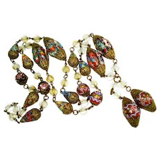 LG Venetian Lampwork Czech Glass Art Deco Necklace